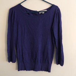 LOFT Purple Sweater with Back Buttons